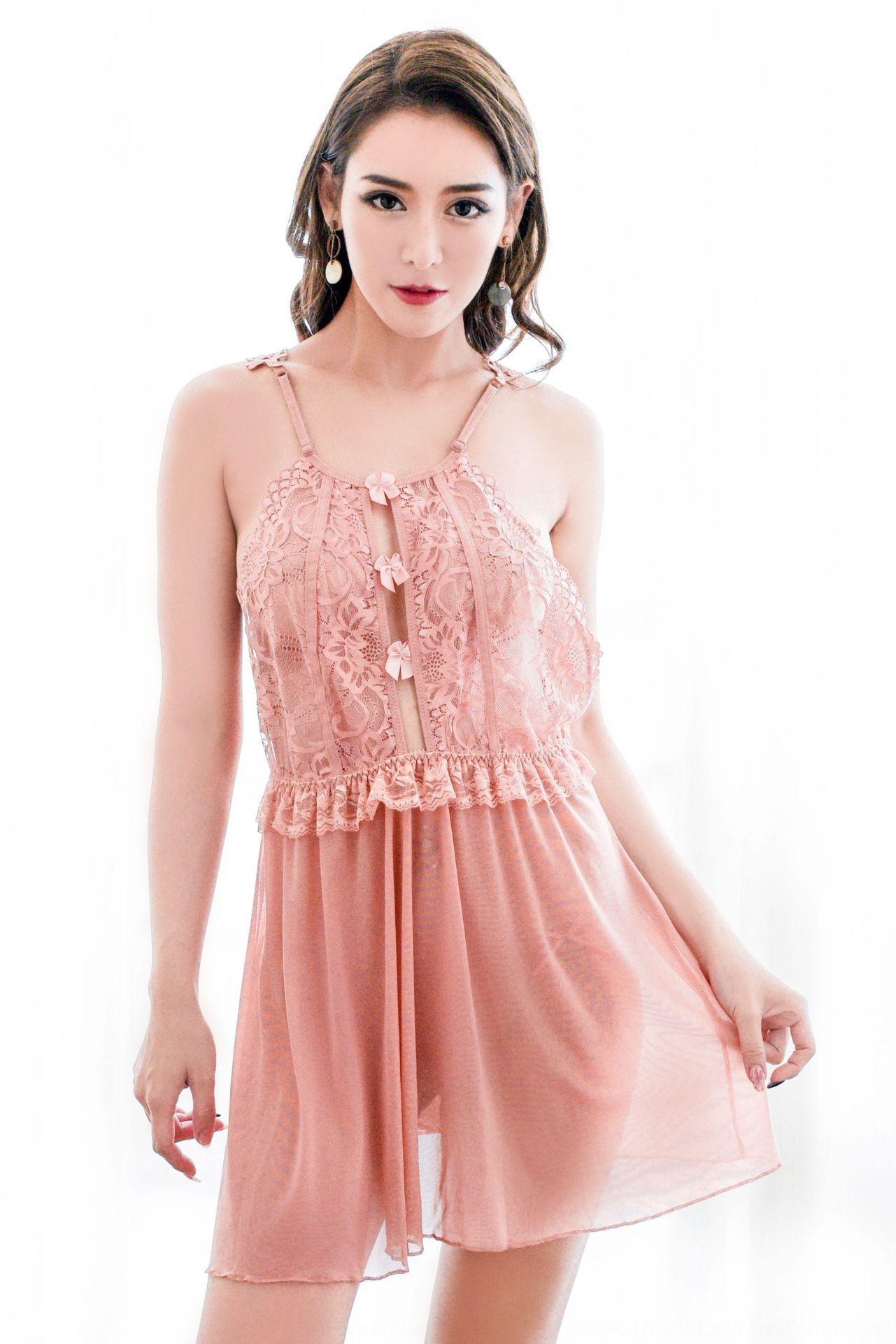 Ropa interior atractiva quema adulta atractiva transparente honda de los pijamas de las mujeres de la ropa interior pijamas camisón de malla de liga 8258 rn4Ul