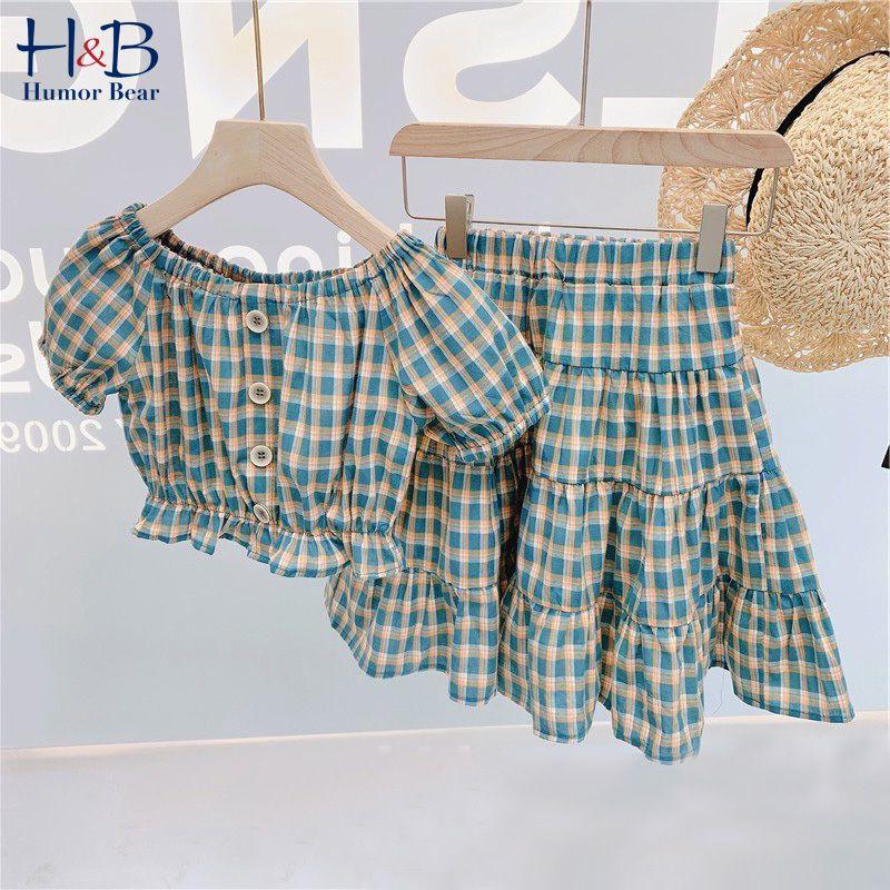 Humor Bear Summer Girls Kids Ropa para niños New Summer 2020 Girl Plaid Impresa camisa + Falda Traje Niños 2pcs Ropa Conjuntos C0225