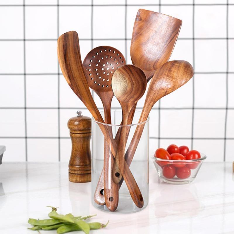 الملاعق الخشبية 5PCS لإعادة الاستخدام الخشب أواني المطبخ طقم خشب تيرنر أداة البسط رايس ملعقة كبيرة شوربة سكوب للأواني الطبخ