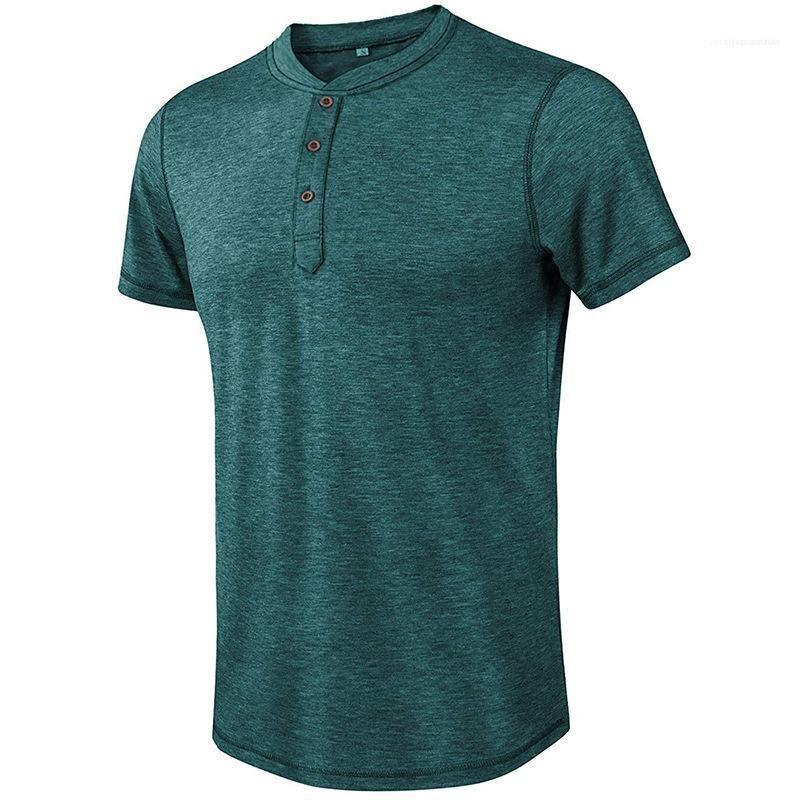 بوتون بلايز ذكر ملابس البلوز الرجال الرقبة الطاقم بأكمام قصيرة بلايز سليم مصمم العاب الكرة والصولجان لون الصلبة