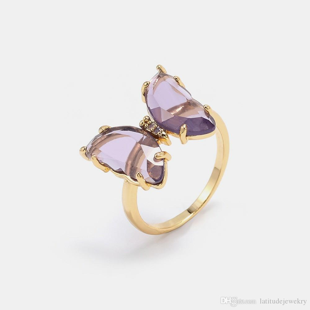 Luxury jewelry women pink purple glass butterfly designer rings copper with gold plated diamond rings for girl fashion style