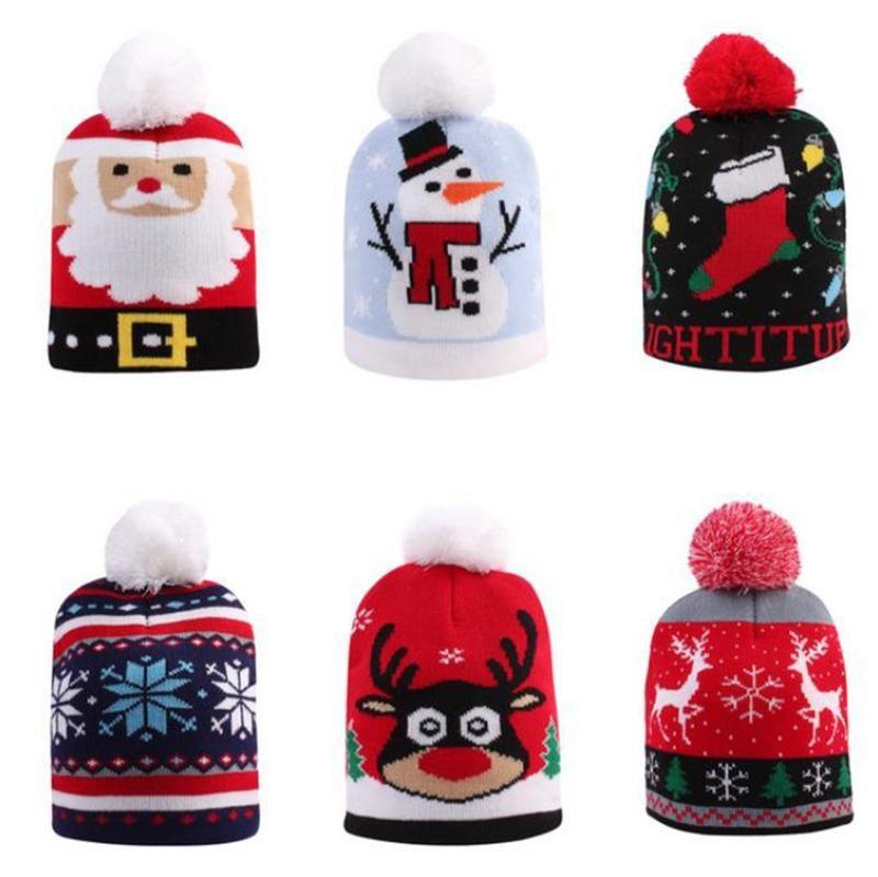 Дети Hat Pompom Санта Вязаная шапочка шапки крючком Детские теплые шапки зимние головные уборы Рождество Happy New Year Дети подарок 6 Designs EWC2428