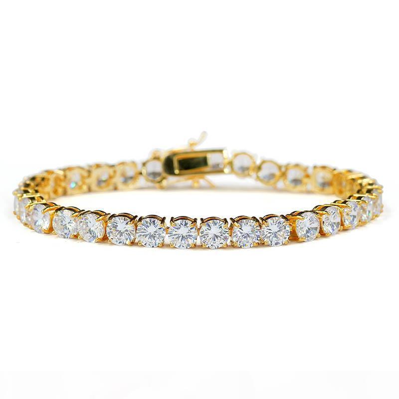 1Row 14k Gold Посаженные Brass Обледенение Out теннис ожерелье браслеты Hip Hop Теннис Ссылка Мужчины Женщины