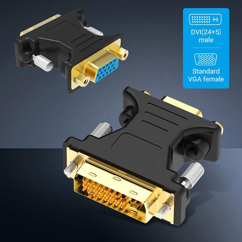 Cabos baratos Amkle DVI para VGA Conversor de DVI 24 + 5 pinos macho para VGA Feminino 1080P Video Converter for HDTV Computer