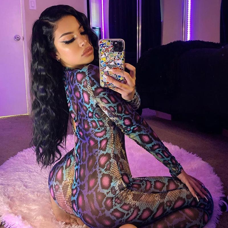 2Yazl A253h stampa collare tratto serpente manica lunga vestiti tuta in forma stand sottili abbigliamento vestiti di yoga di forma fisica di yoga 2020 di moda