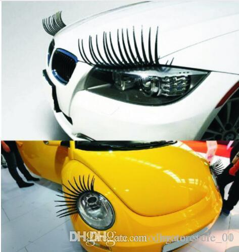 projeto cílios adesivos de carro Decal tampa do farol do carro Etiqueta preta pestanas falsas Eye Lash Etiqueta KKA6738