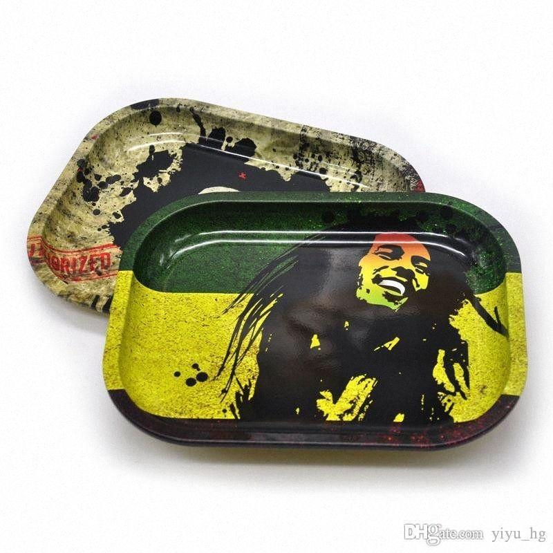 Bob Marley laminado de metal bandeja 18 * 14 * 1.5cm de la hierba del tabaco del balanceo de la hojalata bandeja de herramientas de mano de rodillos cigarrillos titular de humo de tabaco Accesso aAi4 #