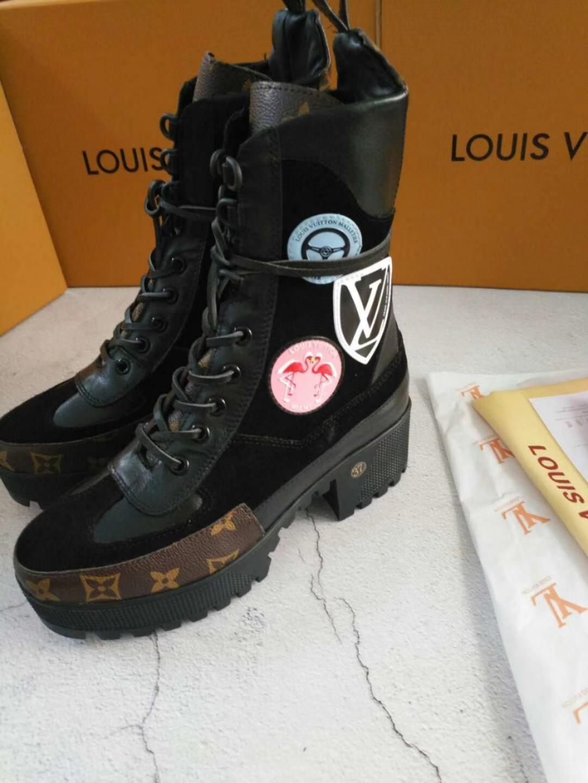 2019r Top-Qualität Luxus Designer Gedruckte Streifen beiläufige starke alleinige kurze Stiefel der Frauen starke alleinige Martin Stiefel schnüren sich oben kurze Stiefel EUR 35-42
