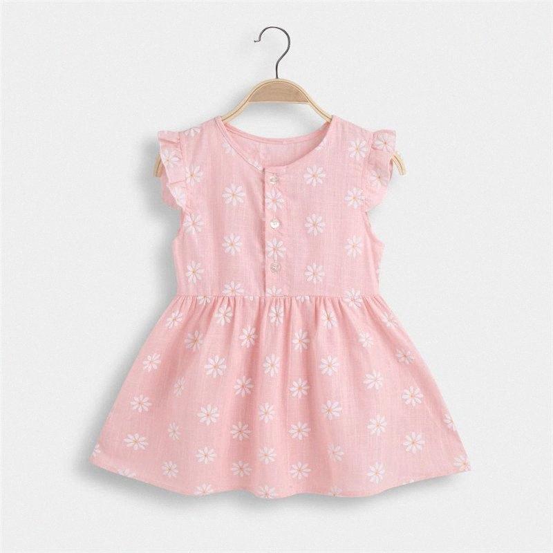 Vestiti del vestito Ruffle Sleevele principessa Frocks modo scherza la neonata di estate del bambino Vestito 2020 nuove ragazze per 3-7 anni PJJ4 #