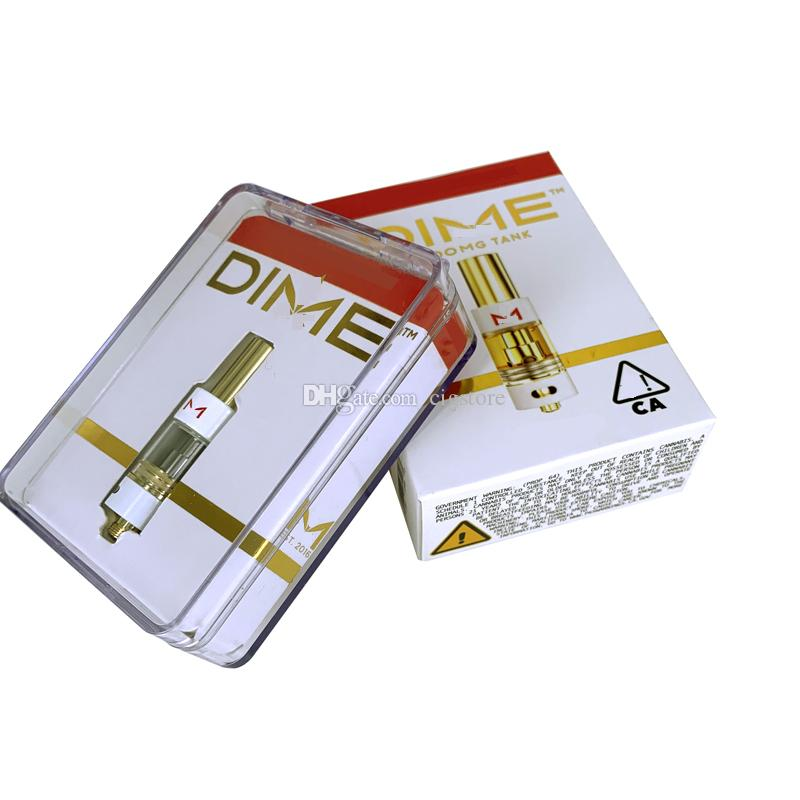 DIME Cartridge Vape Pen Carts 0.8ML Gold Tank Thick Oil Ceramic Coil Empty Atomizer With Packaging Box Fit 510 Thread Battery