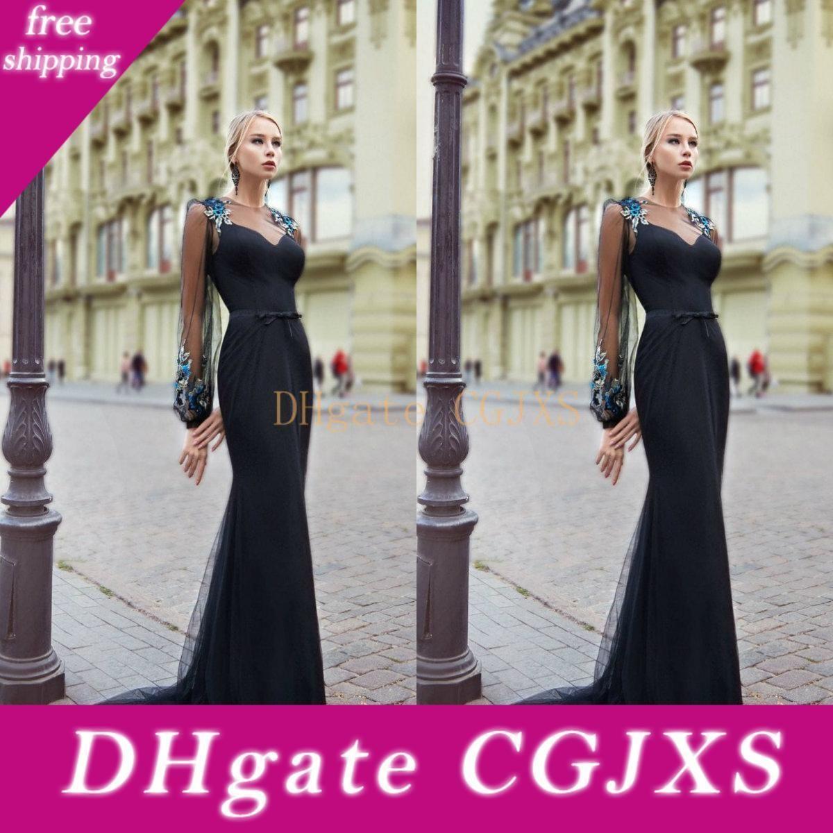 2020 Lace Abendkleider Jewel langärmlige Frauen-Gelegenheits-Partei-Berühmtheit Kleider Sweep Zug Formal Abendkleid