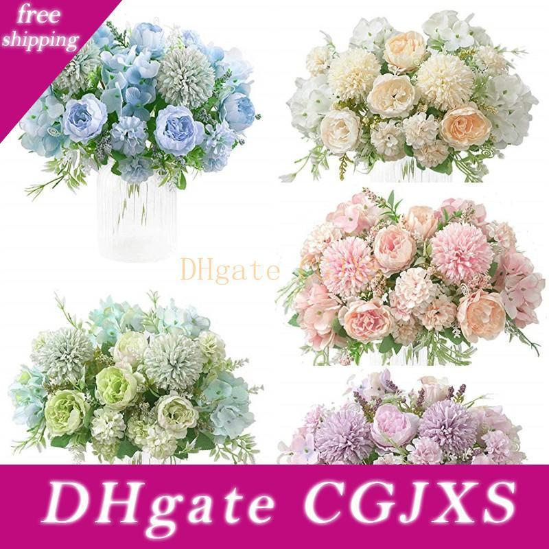 Seta Peony Hydrangea Bouquet artificiale realistica di plastica Garofani Peony Ortensia Fiore Bouquet casa della festa nuziale decorazione del giardino