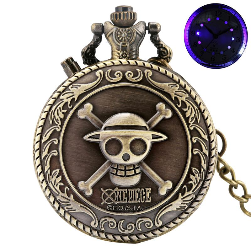 Bronze/Silver Gold One Piece Watches Japan Anime Design Mens Womens Quartz Pocket Watch Analog Watches Pendant Chain Clock with LED Dial Xmas Gift