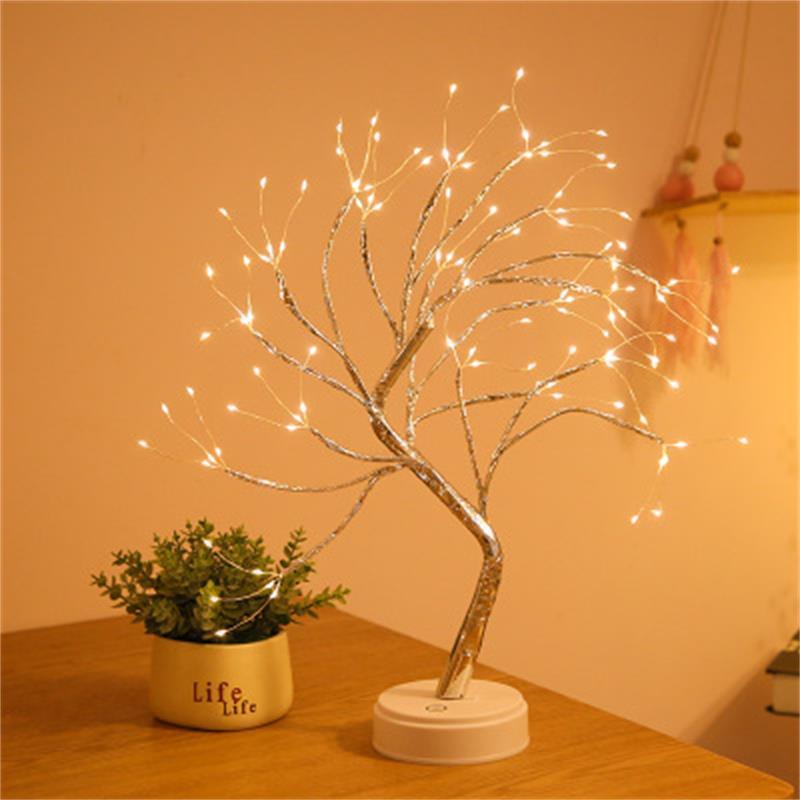 Batteriebetriebene Baum-Lampe Dekorative LED-Beleuchtung Baum Nachtlichter Fairy USB Touch Desk Tisch Kinder Schlafzimmer Warme Weiße Nacht Nachttischlampe 321