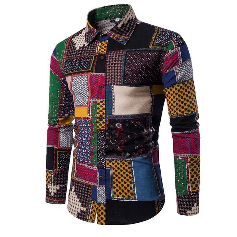 Camisa 2020 ropa de moda de la camisa masculina camisas de vestir de lino Slim Fit apertura de cama Hombre de manga larga para hombre de Hawai Grandes Tamaños