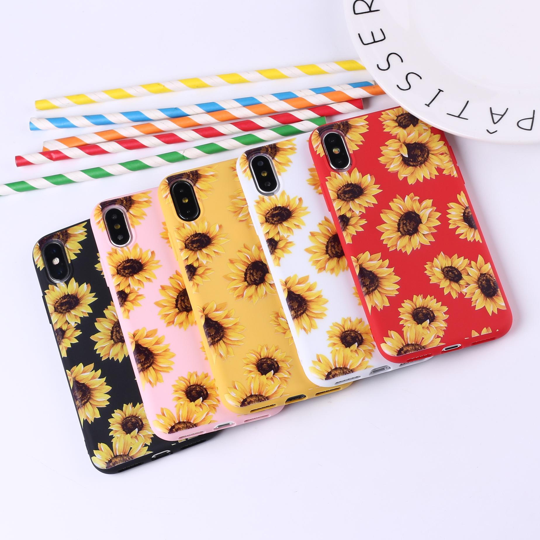 패션 여름 데이지 해바라기 꽃 꽃 소프트 TPU 전화 케이스 Coque 아이폰 (12) 미니 프로 최대 11 프로 X XR XS 맥스