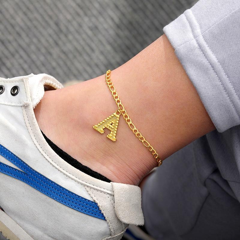 Pequeño inicial joyería tobillera muchacha de las mujeres del alfabeto opcional A-Z Carta tobillo pulsera de acero inoxidable pie pierna Dropshipping Cadena