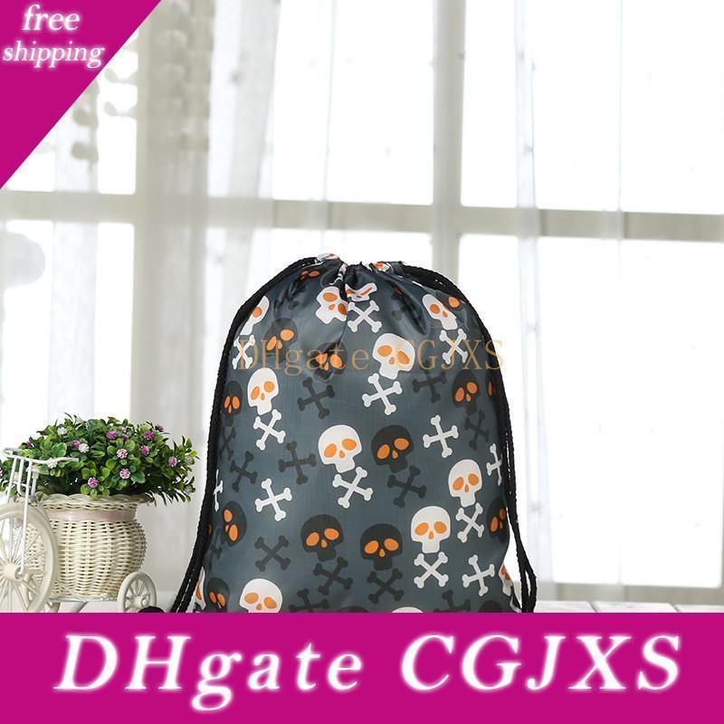 Presente Moda Halloween Candy Bag Bundle bolso Dia das Bruxas Decoração Crânio abóbora Impressão com cordão mochila cordão Bag