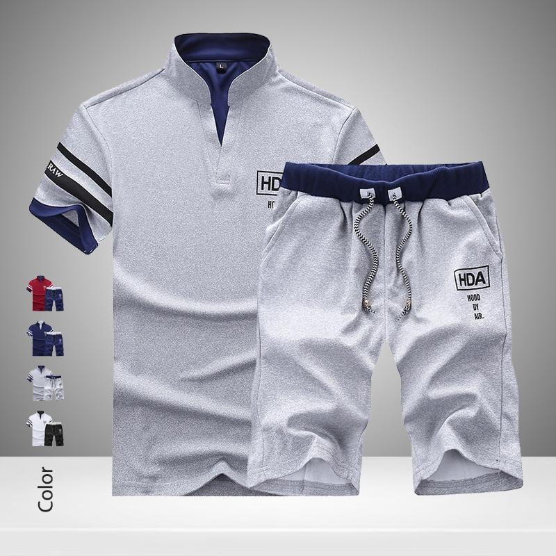 2020 Летний Новый Мужчины Шорты Комплекты с коротким рукавом Футболка + шорты Печать Муж Trasuit Set мужской бренд одежды 2 шт наборы