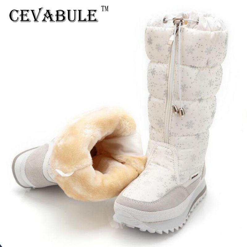 CEVABLUE Women 2020 Snow Boot Knee High Platform Wedge Warm Boot for Woman 35-42 Large Size Plus Velvet Snow Boots JSH-0767