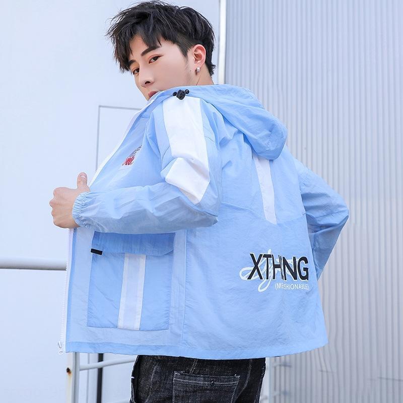 Juveniles ropa anti-desgaste 13 de la chaqueta de la chaqueta de los estudiantes de la escuela secundaria de los hombres la ropa del verano de los niños de 14 a 15 años de edad, chico guapo capa fina Uh