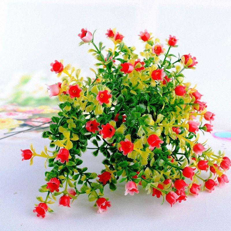 10pcs ev çiçekler dekorasyon simülasyon çiçek plastik çiçek milano tahıl, yeşil çimen bitki tane simülasyon fens #