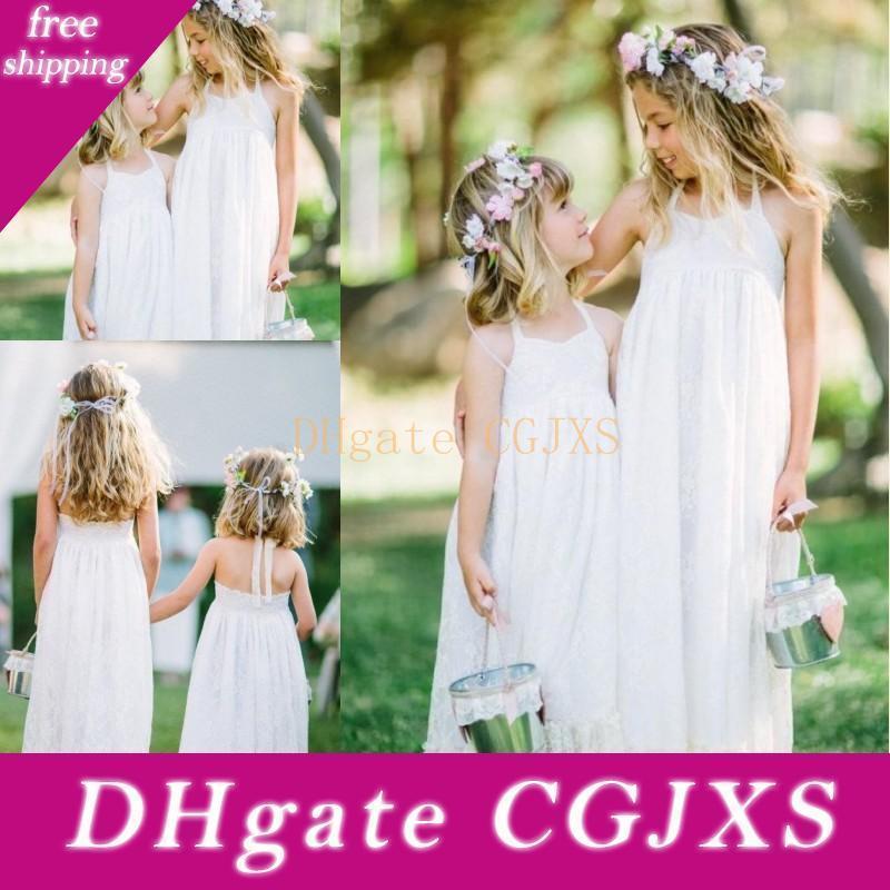 2018 Длины Новых прекрасного White Lace Boho цветок девушка платье Холтер пол линия Дешевого цветок девочка платье для пляжа сад формальной свадьбы