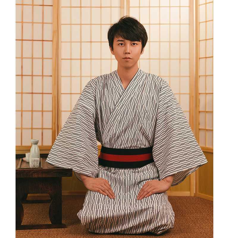 Les hommes japonais costumes Samurai Kimono Jinbei Home Wear en vrac Coton Noir Yukata Vêtement traditionnel Pyjama Robe chemise de nuit