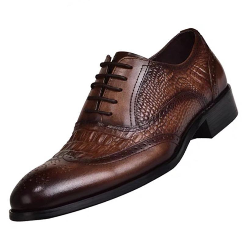 Mazefeng Man Düz Klasik Erkekler Elbise Ayakkabı Rugan Wingtip Sonbahar Kış İtalyan Biçimsel Oxford Artı Boyutu 38-48 Oyma
