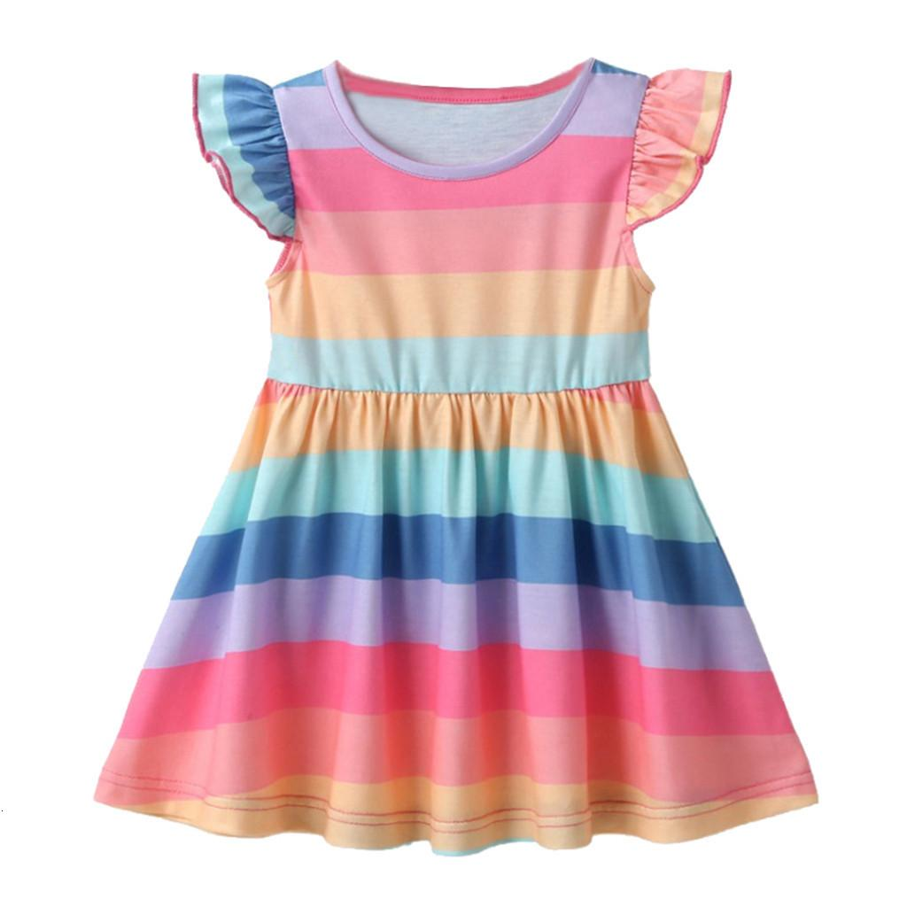 Fly Sleeve Striped Princess Sequin Dress Newborn Baby Girls Fluffy Rainbow Dress with Headband Kid Birthday Party Cake Outfits