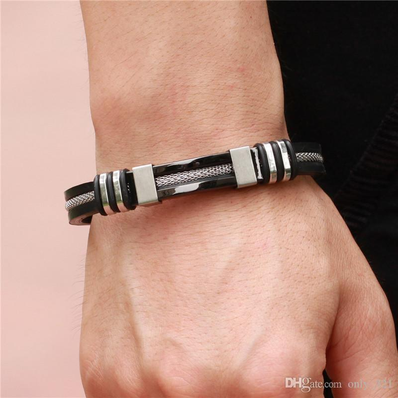 Hot Stainless Steel 4 Colors Mens Leather Bracelets Silicone Fashion Charm Designer Bangle Rope Bracelets