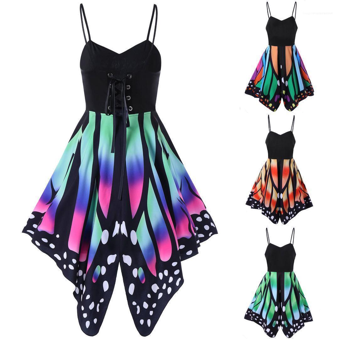 Kleid der Frauen-Sommer-Kleider Ärmel V-Ausschnitt, beiläufige bunte Printed Fashion Kleidung Sexy-Strand-Party-Unterhemd