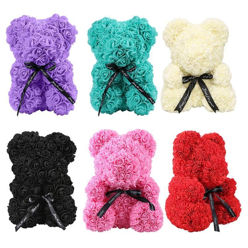 Falsos 25cm creativo Rose de la espuma del oso de peluche creativo artificial regalos de la flor de la decoración de Navidad Suministros Valentín Adorno