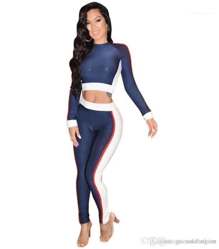 Para mujer diseñador de moda chándales con paneles 2PC delgado ocasional de deportes femenino Apparel