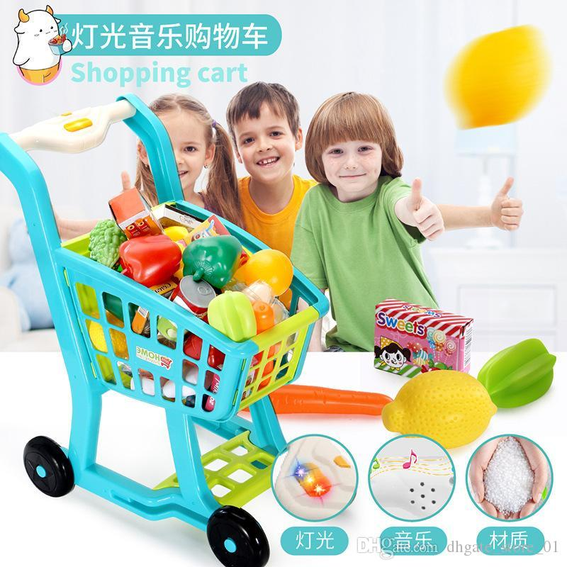 Kitchen Toy Shopping Cart Set Pretend Play House Plastic Cutting Simulation Fruit Vegetables Mini Food Girls Educational Toys