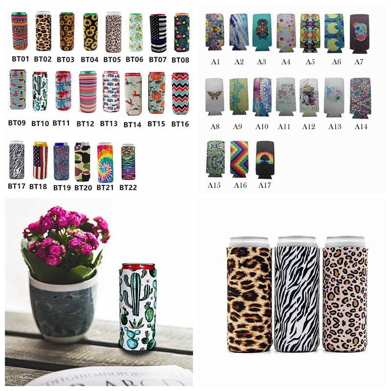 17 * 8,5 centímetros pode refrigerador Magro Can Isoladores Neoprene Bebidas Refrescantes de cerveja dobrável Cola Garrafa Koozies Cactus Leopard Can luva CYZ2595