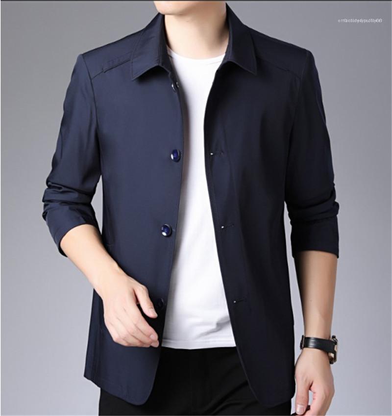 Ceketler Uzun Kollu Erkek Dış Giyim Yaka Boyun Düğme Moda Cep İnce Man Giyim Erkek Tasarımcı Katı Renk