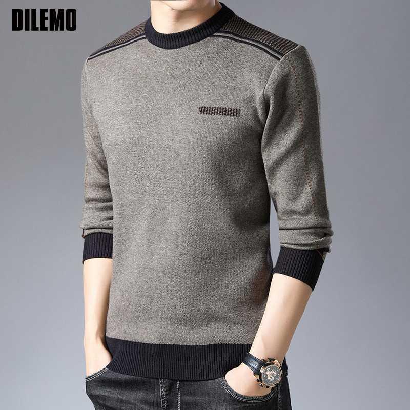 2020 nuevo de la manera Marca Hombre suéter con capucha gruesa Slim Fit puentes de géneros de punto de invierno estilo coreano Caliente Casual Ropa de Hombre