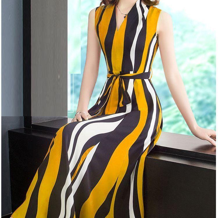 XAcAg mangas de la manera larga francesa verano de las mujeres del vestido de la gasa de oscilación grande 2020 nueva cintura delgada de rayas con cuello en V PDS7X