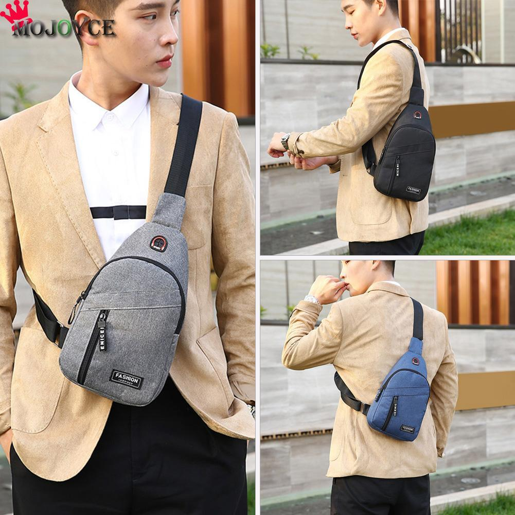 Fashion Solid Color Chest Bag For Men Crossbody Sling Bags Oxford Cloth Shoulder Messenger Sports Handbags with Headphone Hole