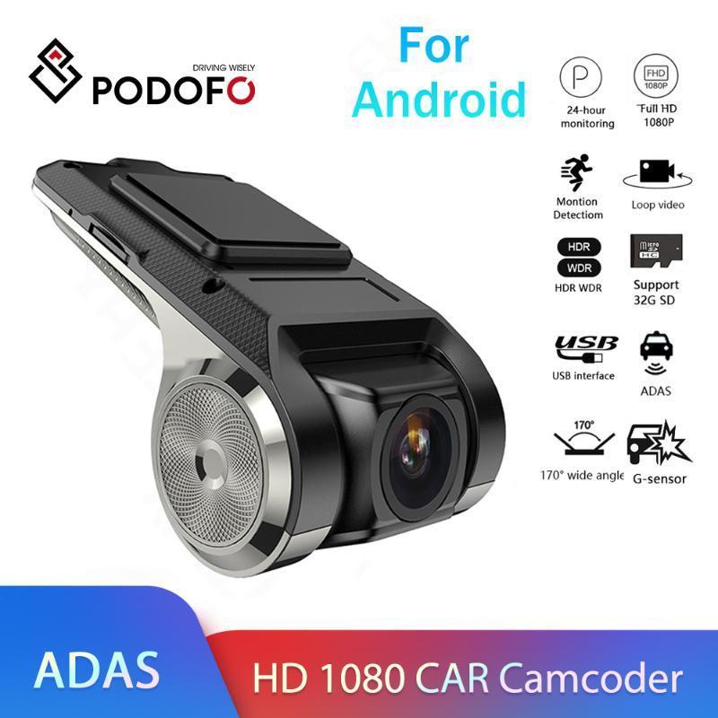 Coche DVR DVRS Podofo Dash Cam Adas Dashcam Video Video Versión HD 1080P Auto Recorder para Android Multimedia Player DVD