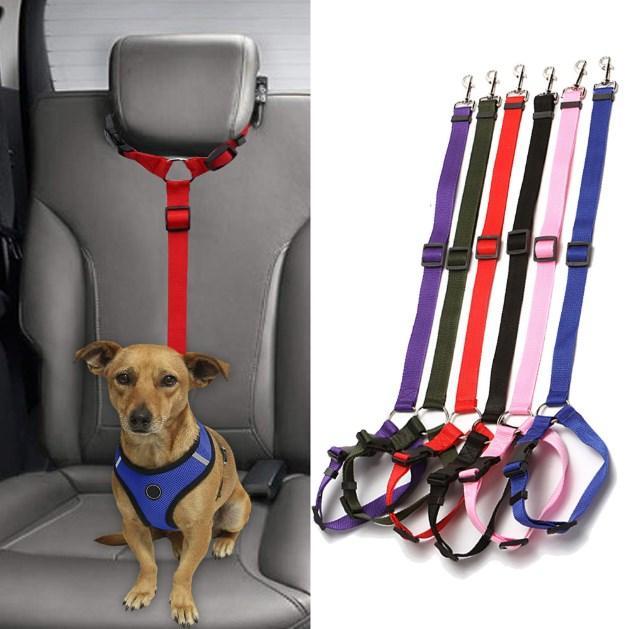 منتجات الحيوانات الأليفة العالمي العملي القط سلامة الكلب قابل للتعديل مقعد السيارة حزام تسخير المقود جرو مقعد حزام السفر كليب العروض الشريط