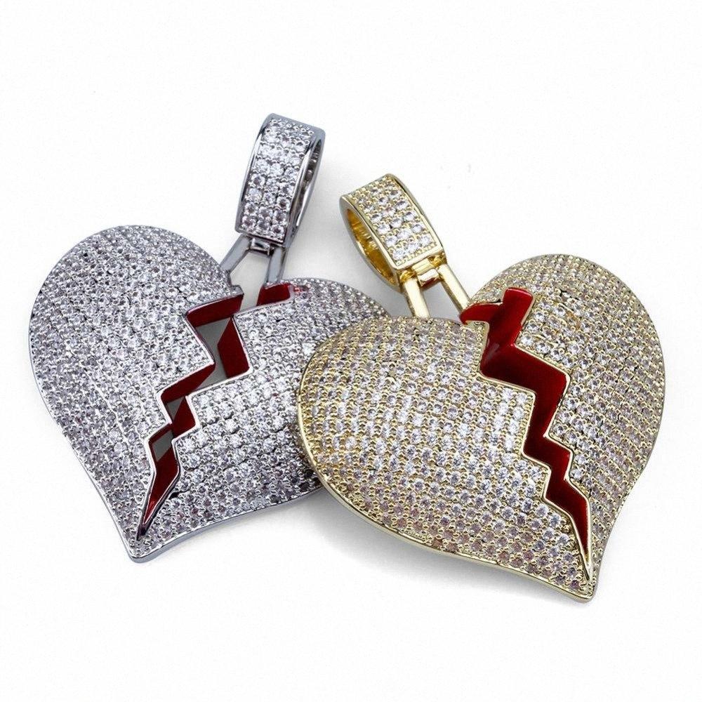 Iced Out Broke Donne Oro Cuori Collana per gli uomini di colore dell'argento cubico zircone collana di Hip Hop Jewelry REkn #