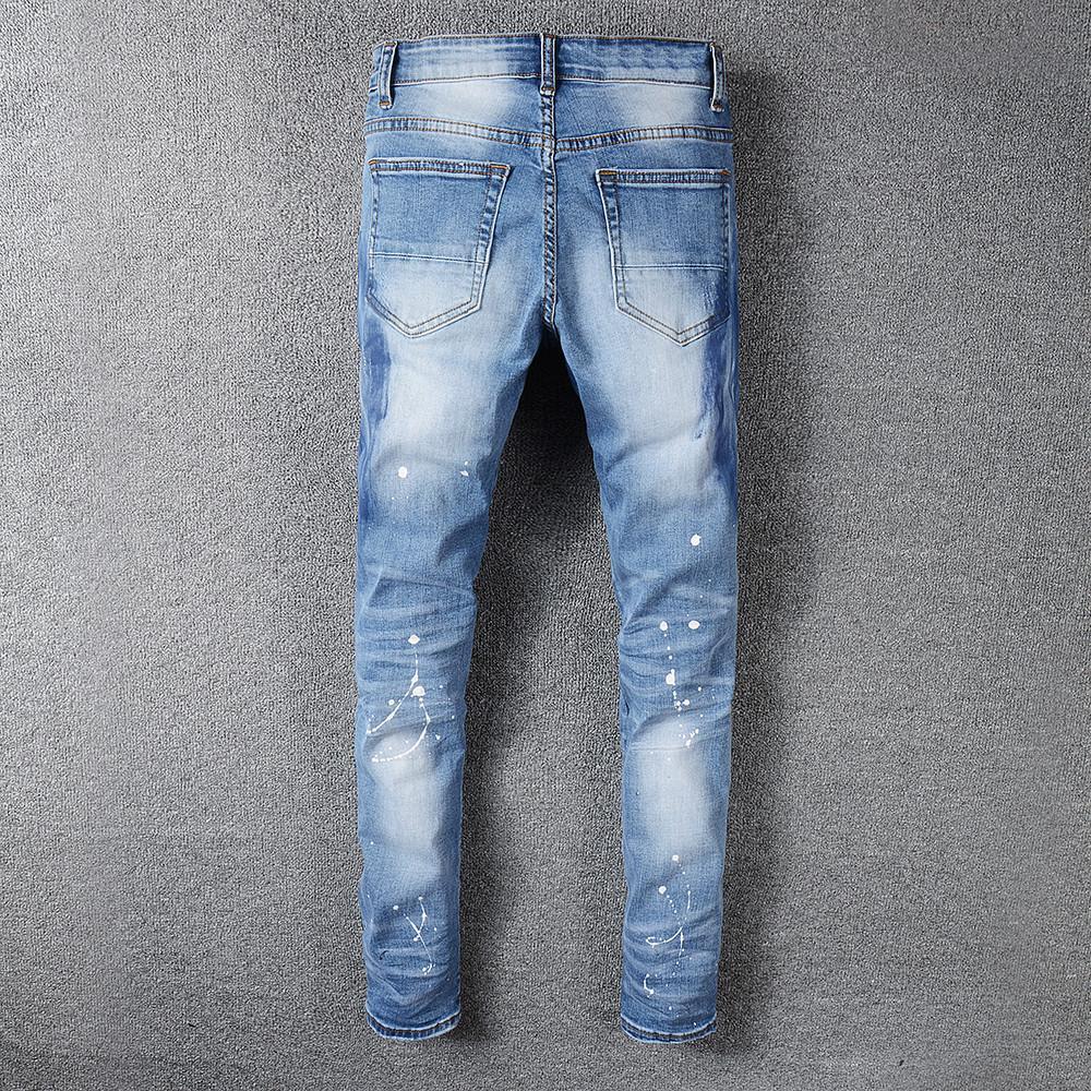 Sokotoo Men's rhinestone crystal patchwork light blue ripped jeans Slim fit skinny stretch denim pants MX200814