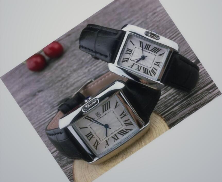 de cuero cuadrado del cuarzo de las mujeres de lujo banda romano hombres dropshipping reloj de diseño para mujer relojes de oro de los regalos de las mujeres reloj de pulsera con-Cartier-LOGO