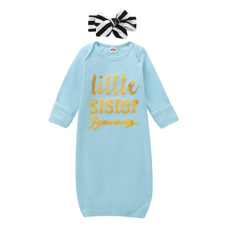 Newborn Baby Sleeping Bags Letter Printed Bebe Pajamas Infant Baby Clothes Little Sister Cartoon Striped Sleepwear With Headband