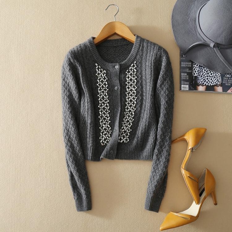qFOyY curta cashmere casaco rodada frisada para pescoço suéter de cashmere frisado corda nova longos mulheres suéter manga