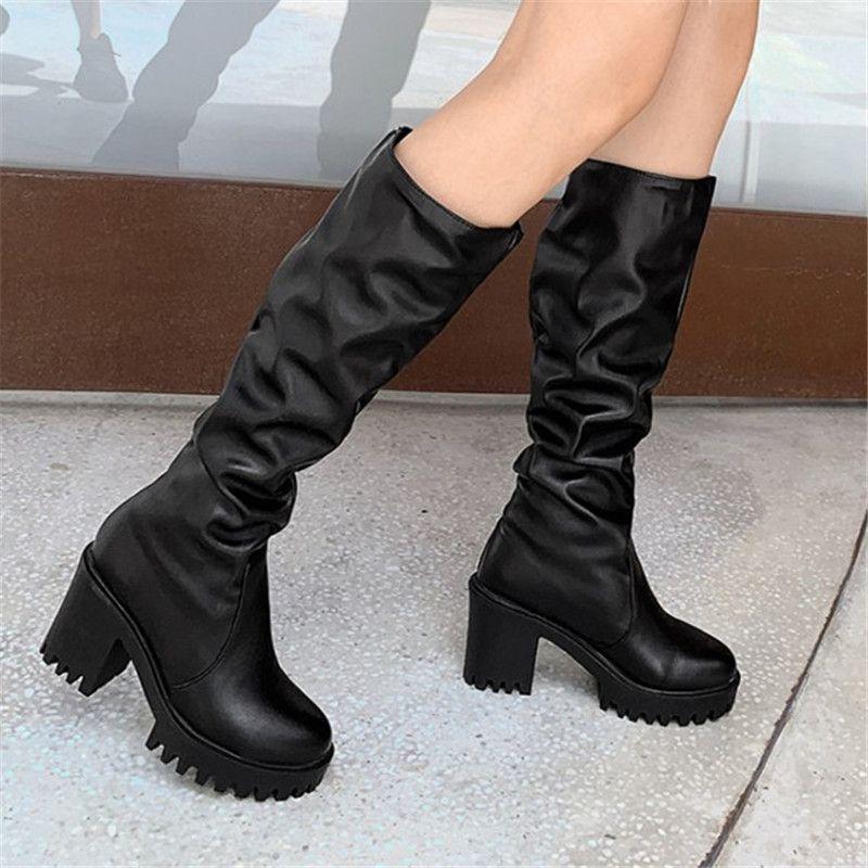 Gothic Womens block Heels Lace Up Tactical Platform Punk Mid Calf Boots Shoes
