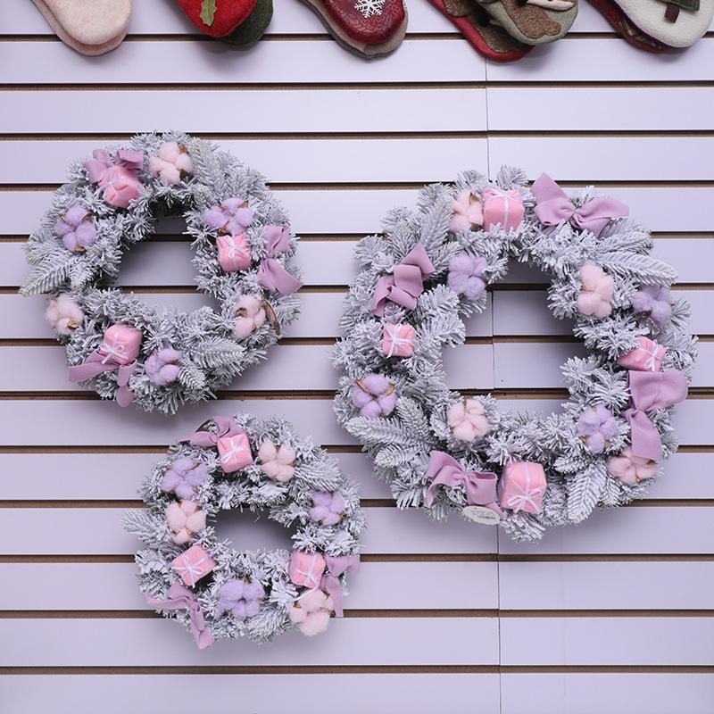 Ghirlanda di Natale di colore rosa blu di diametro 30 centimetri in PVC a parete porta appesa scena anello rattan Layout 2020 Festival del Capodanno i rifornimenti del partito