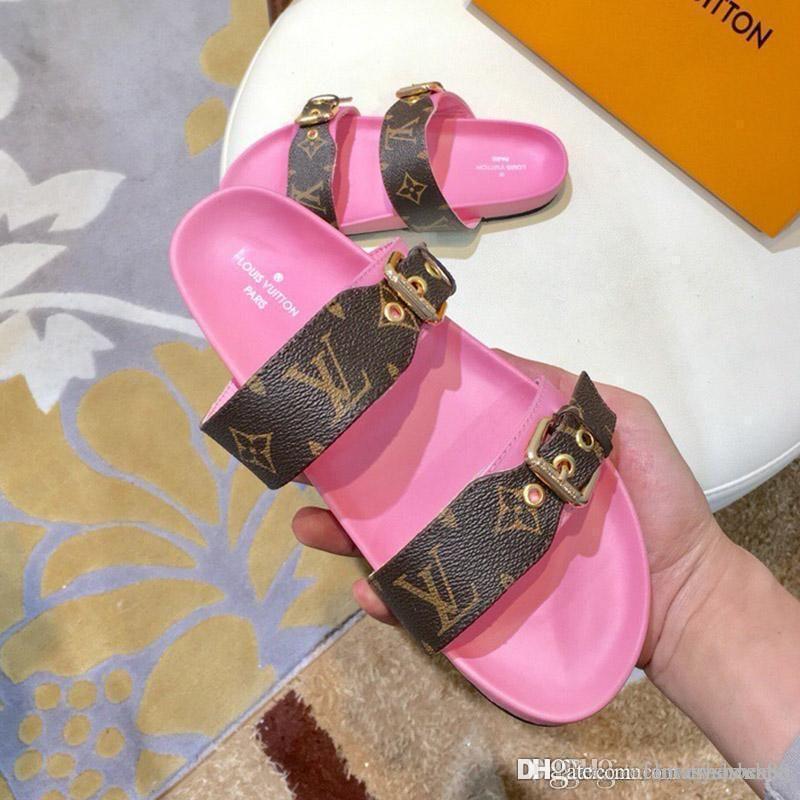 2020 Fashion slide sandals slippers for women Sandals Printed leather causal flip flops Non-slip summer Comfortable beach slipper